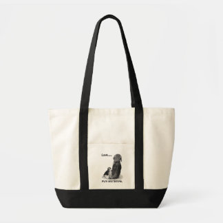 Cute puppy beagle and mum dog realist art tote bag