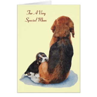 cute puppy beagle dog mum versed greeting card