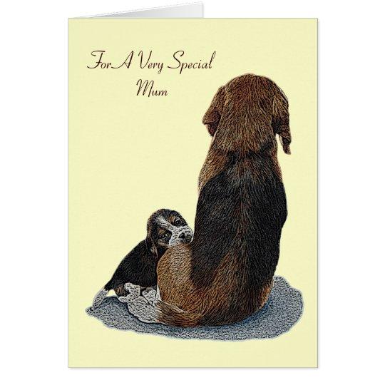 Cute puppy beagle mum dog original verse greeting