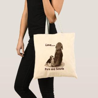 Cute puppy beagle with mom dog original art tote bag