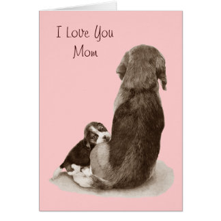 Cute puppy beagle with mom dog realist art greeting card