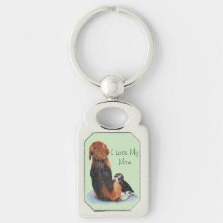 cute puppy beagle with mom dog realist art key ring