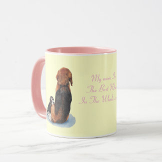 Cute puppy beagle with mom dog realist art mug