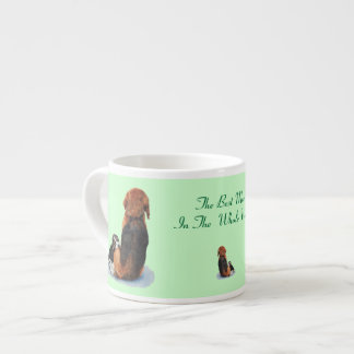 Cute puppy beagle with mom dog realist art espresso cups