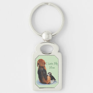 cute puppy beagle with mom dog realist art Silver-Colored rectangle key ring