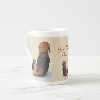 Cute puppy beagle with mom dog realist art tea cup