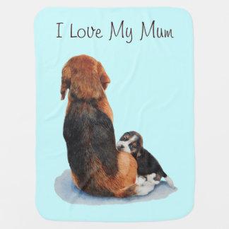 Cute puppy beagle with mum dog realist art pramblanket