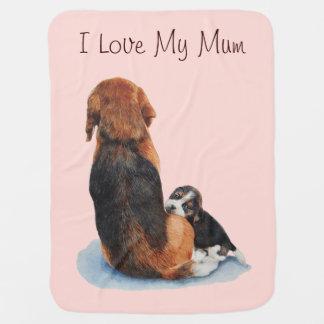 Cute puppy beagle with mum dog realist art baby blanket