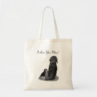 Cute puppy beagle with mum dog realist art bag