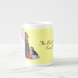 Cute puppy beagle with mum dog realist art bone china mug