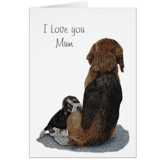 Cute puppy beagle with mum dog realist art card