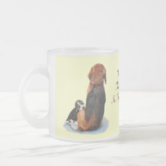 Cute puppy beagle with mum dog realist art frosted glass coffee mug