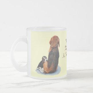 Cute puppy beagle with mum dog realist art frosted glass mug