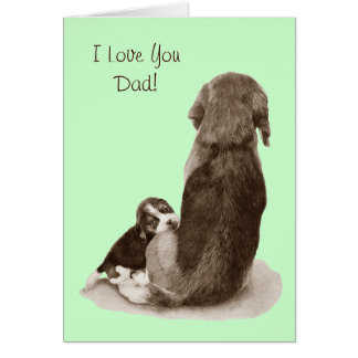 Cute puppy beagle with mum dog realist art greeting card