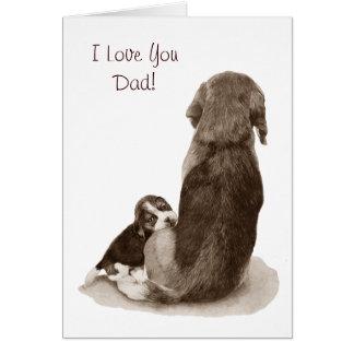 Cute puppy beagle with mum dog realist art greeting card