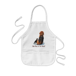Cute puppy beagle with mum dog realist art kids apron