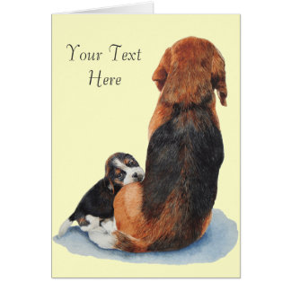 Cute puppy beagle with mum dog realist art note card