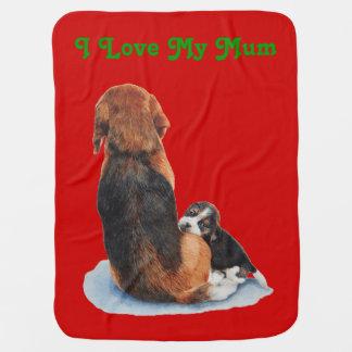 Cute puppy beagle with mum dog realist art pramblankets