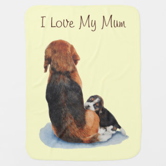 Cute puppy beagle with mum dog realist art receiving blanket