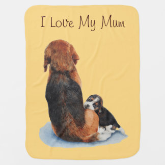 Cute puppy beagle with mum dog realist art receiving blankets