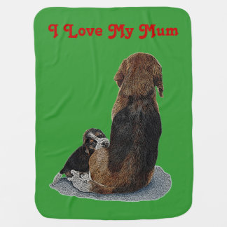 Cute puppy beagle with mum dog realist art receiving blankets