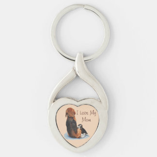 cute puppy beagle with mum dog realist art Silver-Colored twisted heart key ring