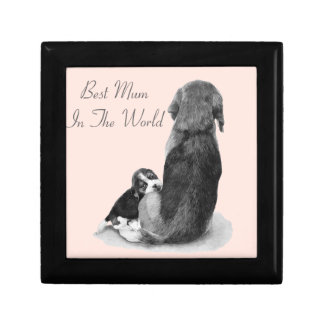 Cute puppy beagle with mum dog realist art small square gift box
