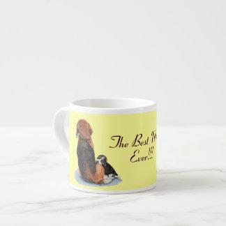 Cute puppy beagle with mum dog realist art espresso cups