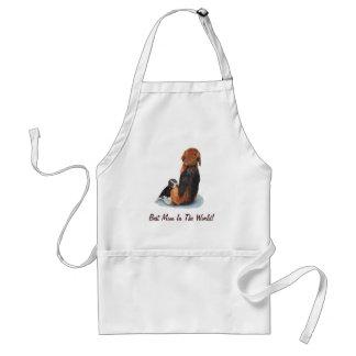 Cute puppy beagle with mum dog realist art standard apron