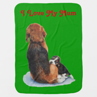 Cute puppy beagle with mum dog realist art swaddle blankets