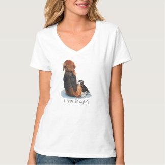 Cute puppy beagle with mum dog realist art T-Shirt