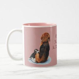 Cute puppy beagle with mum dog realist art Two-Tone mug