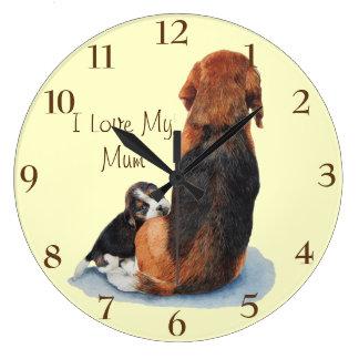 Cute puppy beagle with mum dog realist art wall clock