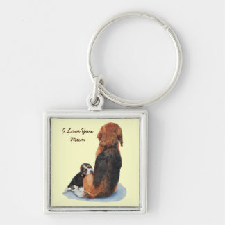Cute puppy beagle with mum realist dog art keyring Silver-Colored square key ring