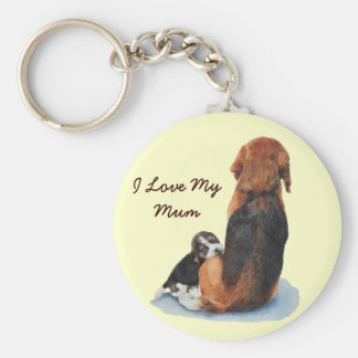 Cute puppy beagle with mum realist dog portrait basic round button key ring