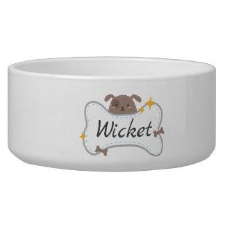 Cute Puppy & Bone Custom Name Pet Bowl