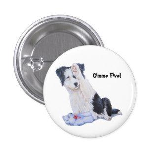 Cute puppy border collie gimme five! art button pins