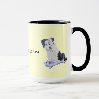 Cute puppy border collie realist dog portrait art mug