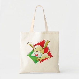 Cute puppy brings love letter budget tote bag