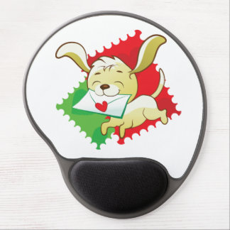 Cute puppy brings love letter on postage stamp gel mouse pad