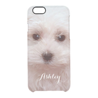Cute Puppy Close Up Face with Custom Monogram Name Clear iPhone 6/6S Case