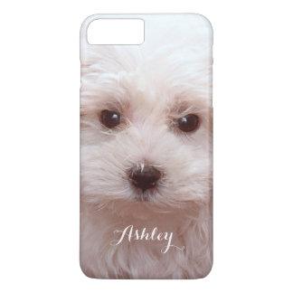 Cute Puppy Close Up Face with Custom Monogram Name iPhone 7 Plus Case