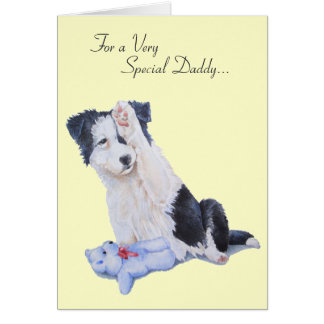 Cute puppy collie dog realist daddy art card