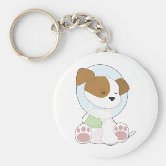 Cute Puppy Cone Basic Round Button Key Ring
