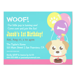 """Cute Puppy Dog and Balloons Birthday Party 4.25"""" X 5.5"""" Invitation Card"""