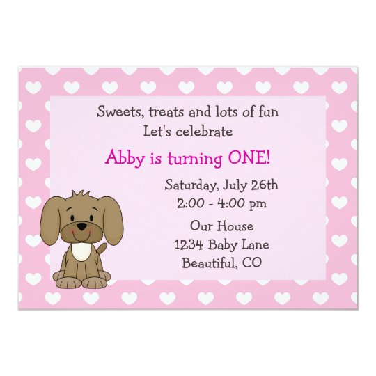 Cute Puppy Dog and Hearts Girls Pink 1st