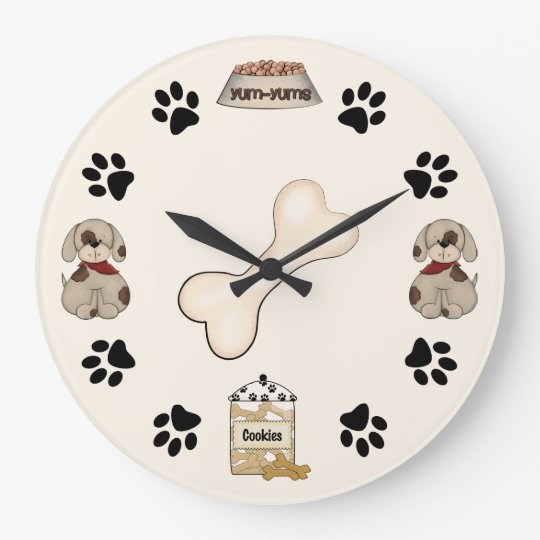Cute Puppy Dog and Paw Prints Wall Clock
