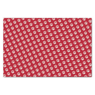 Cute Puppy Dog Animal Red White Paw Print Pattern Tissue Paper