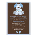 "Cute Puppy Dog Baby Shower Invitation Blue 5"" X 7"" Invitation Card"