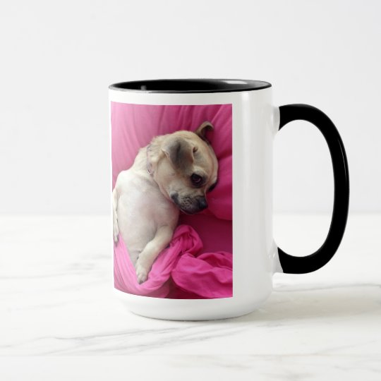 Cute Puppy Dog Chug Pink Sheets Coffee Mug